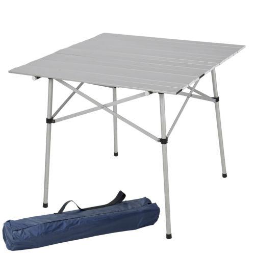 Mesa plegable rollo de aluminio para camping barbacoas for Mesa de camping plegable de aluminio