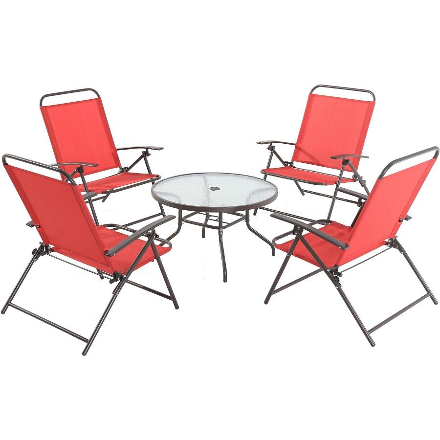 Juego de 4 sillas plegables y mesa con vidrio rojo for Oferta sillas plegables