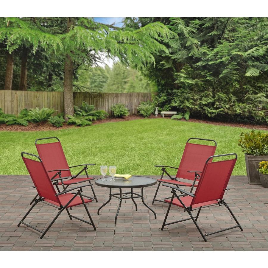 Juego de 4 sillas plegables y mesa con vidrio (rojo) - Barbacoas ...