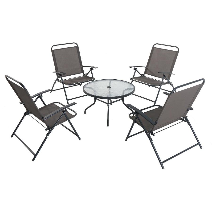 Juego de 4 sillas plegables y mesa con vidrio gris for Oferta sillas plegables